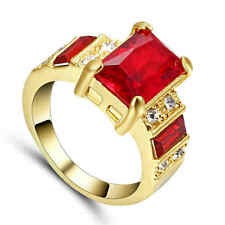 Fashion Ring Size 8 Red Ruby Women's yellow Rhodium Plated Wedding Jewelry