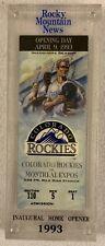 Colorado Rockies Inaugural Season Opening Day 1993 Ticket