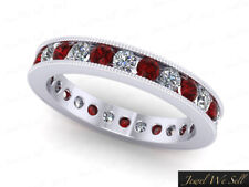 2.40Ct Round Ruby Diamond Channel Set Milgrain Eternity Band Ring 18k AAA H SI2