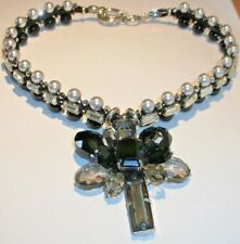 HUGE black and white crystal statement necklace and pendant