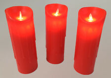 Set of 3 Large LED Red Candles 24cm Tall Dancing Flame Melted Wax Effect Premier