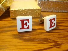 """"""" E """" Monogram Letter Initial SILVER Plated Cufflinks 1 Pair (Two)  Red/White"""