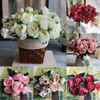 Artificial Fake Peony Silk Flowers Bridal Hydrangea Wedding Garden Home Decor UK