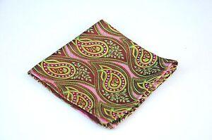 Lord R Colton Masterworks Pocket Square - Santiago Brown & Pink Silk $75 New