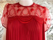 Women's Vintage 1960's Pleated Chiffon Red Night Gown, Size M, Pre-Owned
