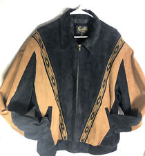 Scully Leather Jacket Men's XL Black & Brown Lether W/knitt Native Pattern Rare