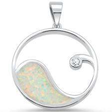 Design .925 Sterling Silver Pendant White Opal & Cz Wave