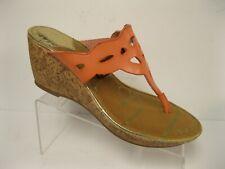 e5adb64d66a5 Sam   Libby Orange Cut Out Flip Flop Cork Wedge Heel sandals 6 M