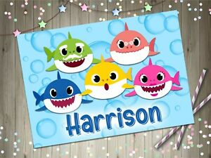 Personalised Baby Shark Family A4 Laminated Kids Placemat Childrens Play Name