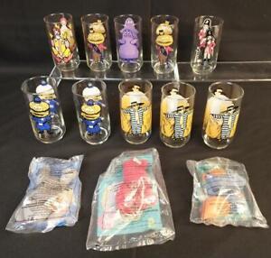 10 Vintage McDonalds Drinking Glasses + 3 TY Teenie Beanies Pinchers Scoop Mel