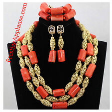 Nigerian Coral Beads with Dubai Gold plated Embelishment Bridal Wedding Party Se