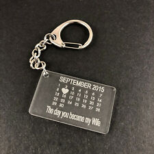 Personalised Acrylic Calendar Date keyring - Wife - Husband - Daddy - Mummy etc