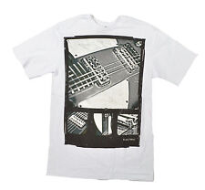 Electric GUITAR Mens Short Sleeve 100% Cotton T-Shirt White Medium NEW