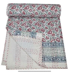Indian Handmade Kantha Quilt Throw Bedspread Bedding print Blanket Floral Print.