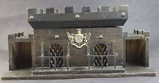Vintage Hand Made Medeival Castle Wooden Scotch Gin Decanter Dungeon Barware Set
