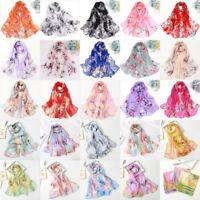 New Summer Fashion Women Floral Printing Long Soft Wrap Scarf Shawl Beach Scarf
