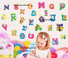 LARGE Animal Alphabet Letter Wall Stickers Nursery Early Learning Baby Kid Decor