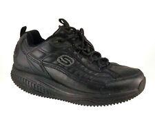 SKECHERS Work Shape Ups Black Leather Slip Resistant Shoes 76848 Mens Size 9