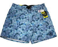 "Body Glove Mens Board Shorts XXL 38 19"" Length 8"" Inseam Blue Floral Print NWT"