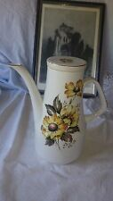 Wood and Sons Alpine Meadow Coffee Pot Yellow Flower on White with Gold Rims