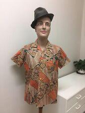 Original Vintage Men's 60s Shirt Barkcloth Abstract Shirt ,Retro Mens Shirt Top