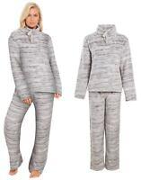 Ladies Fleece Pyjamas Womens Roll Neck Twosie Loungewear PJs Winter Size 8 to 22