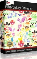 69,000+ Embroidery Designs DVD - Brothers Machine PES HUS Disney Pooh Cats Dogs