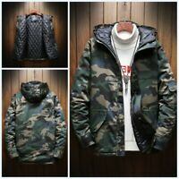 Men Camouflage Army Jacket Hooded Canvas Cotton Padded Coat Cargo Outwear Winter