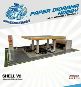Petrol Station/Gas Station Diorama Building Kits in 1:64 Scale for Hot Wheels