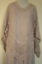 New_Beautiful_Stonewashed_Embroidered Poncho Style_Tunic Top_Shirt_Tan_Free Size
