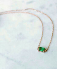 Green emerald Cz Yellow Gold Plated 925 Sterling Silver Necklace Daily Delicate