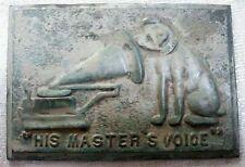 "Nipper Victor Edison dog phonograph patina bronze wall plaque 4-1/2"" x 6-3/4"""