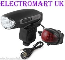 RECHARGEABLE HIGH POWER USB OR WIND UP DYNAMO FRONT & REAR BIKE CYCLE LIGHTS
