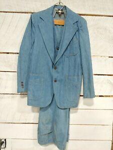 Denim 3-pc Sears Leisure Suit Blue Jean Jacket  Vest Canadian Tuxedo Vtg 60s 38