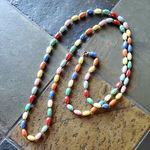 "Vintage Glass Bead Collar Necklace 24"" Long pastel colors"