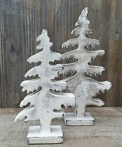 Albero di Natale Shabby Chic Legno Abete Decorazione da Tavola
