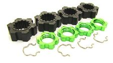 X-MAXX Wheel Hubs, 17mm GREEN Splined serrated Nuts & Hex Clips Traxxas 77076-4