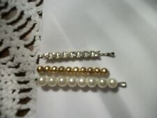 Vintage 3 Bobby Pins with Rhinestones, Faux Pearl, Gold Beads