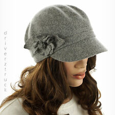 SONOMA Women's GRAY Heather CADET CAP with FLOWER ACCENT Wool Blend GREY HAT