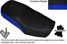 Negro Y Azul Real Custom encaja Suzuki Gn 125 94-01 Cuero Doble cubierta de asiento solamente