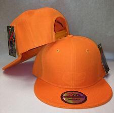Plain Blank SNAPBACK Orange Cap Hat Flat Bill Customizable NWT Free Shipping