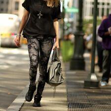 Zara Gris Floral Pantalones Estampados Vaqueros Talla UK6 / EUR 34 / US2