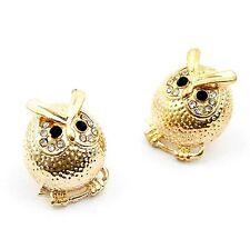 Vintage retro black gold owl charm earrings w/ crystal