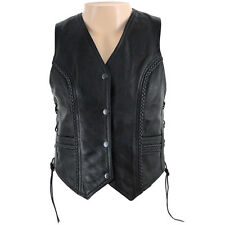 Ladies Black Fitted Classic Leather Vest with Braid Size 4 ATN-1