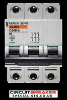 MERLIN GERIN 6 AMP TYPE B 10kA TRIPLE POLE MCB CIRCUIT BREAKER C60HB 25868