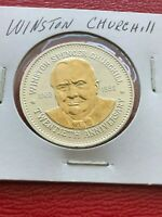 Winston Churchill 1965  -  1985      20th Anniversary Gold Plated Coin