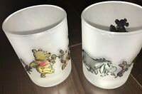 SET OF 2 FROSTED DRINKING GLASSES DISNEY WINNIE THE POOH AND FRIENDS