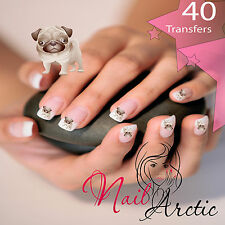 40 x Nail Art Water Transfers Stickers Wraps Decals Pugs