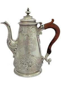 George II Silver Coffee Pot HM London 1750 Chocolate Pot Paul Crespin Repousse