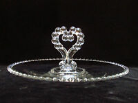 Platter Imperial Candlewick Crystal Serving Tray Heart Center Handle Valentine